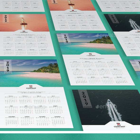 2019 One Page Wall Calendar