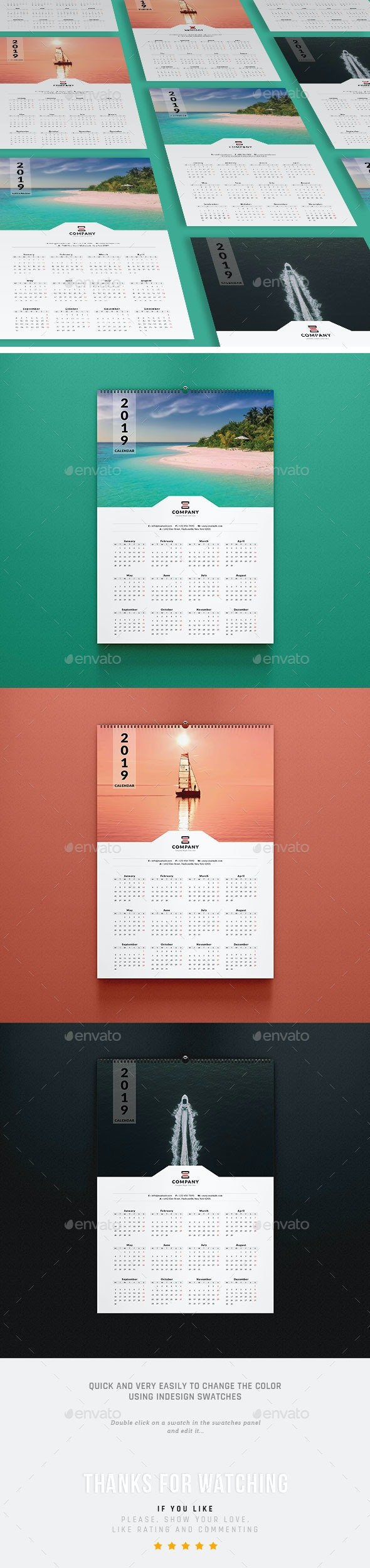 2019 One Page Wall Calendar - Calendars Stationery