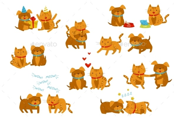 Dog and Cat Set, Cute Domestic Pet Animals - Animals Characters