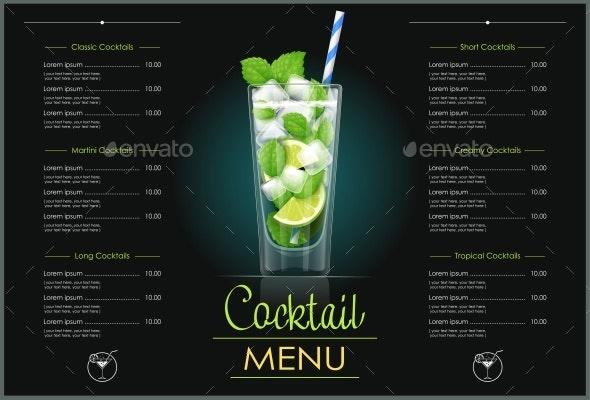 Mojito Glass Cocktail Menu Design. - Food Objects