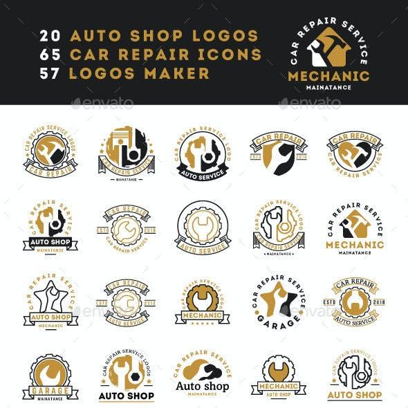 Car Repair Service Vintage Logos