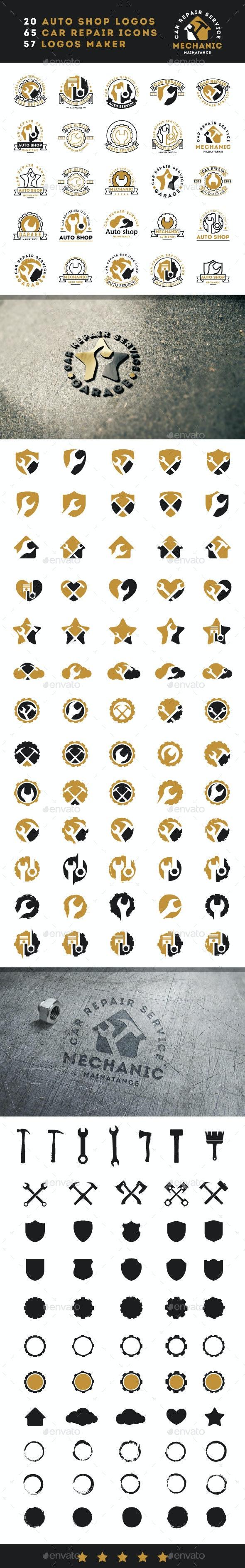 Car Repair Service Vintage Logos - Badges & Stickers Web Elements