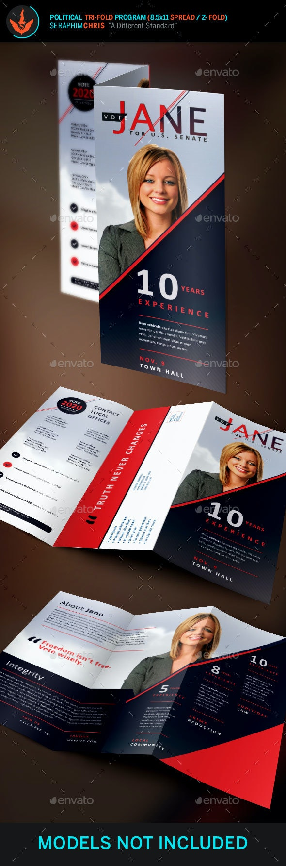 Jane Political Tri-Fold Brochure Template 2 - Corporate Brochures