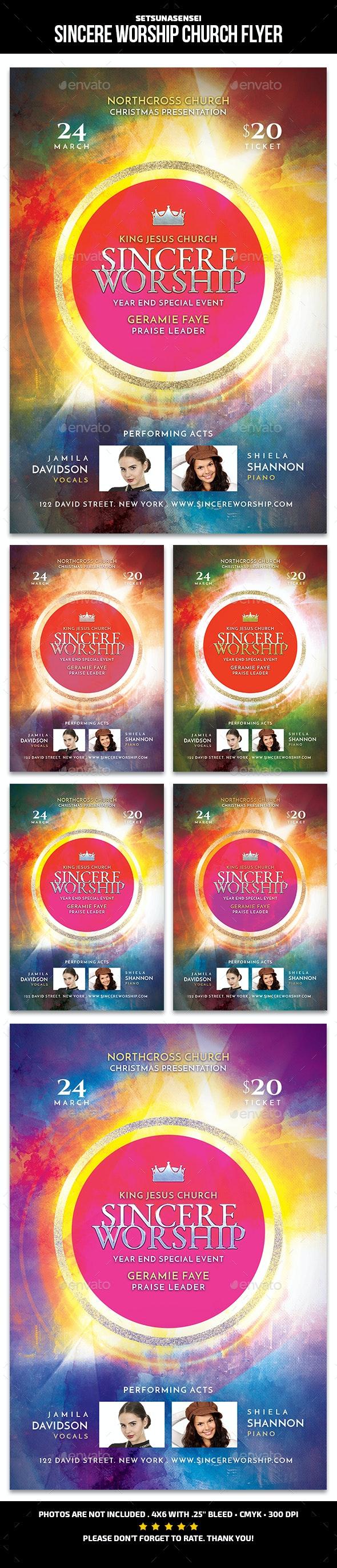Sincere Worship Church Flyer - Church Flyers
