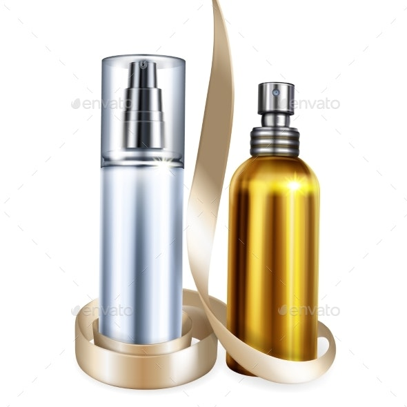 Perfume and Cream Bottles Vector Illustration - Man-made Objects Objects