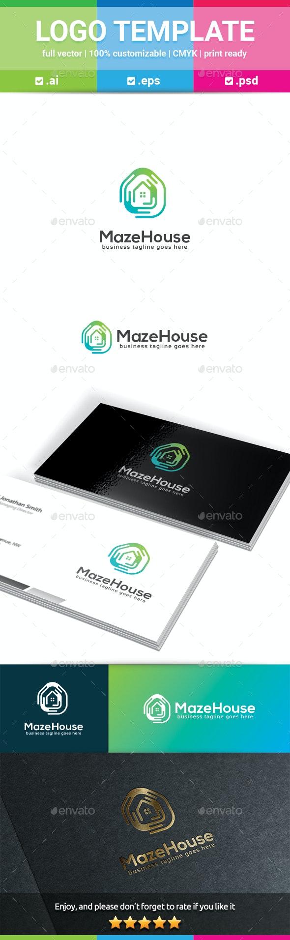 Maze House Logo - Buildings Logo Templates