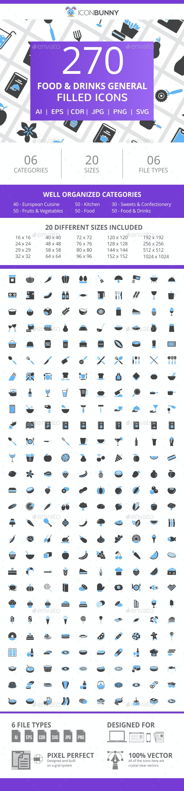270 Food & Drinks General Filled Blue & Black Icons - Icons