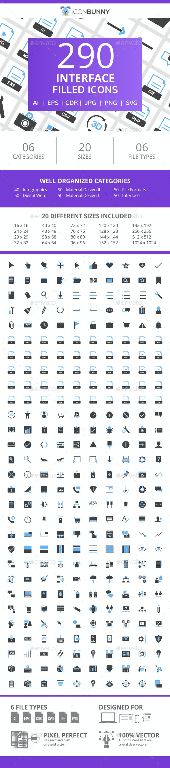 290 Interface Filled Blue & Black Icons - Icons