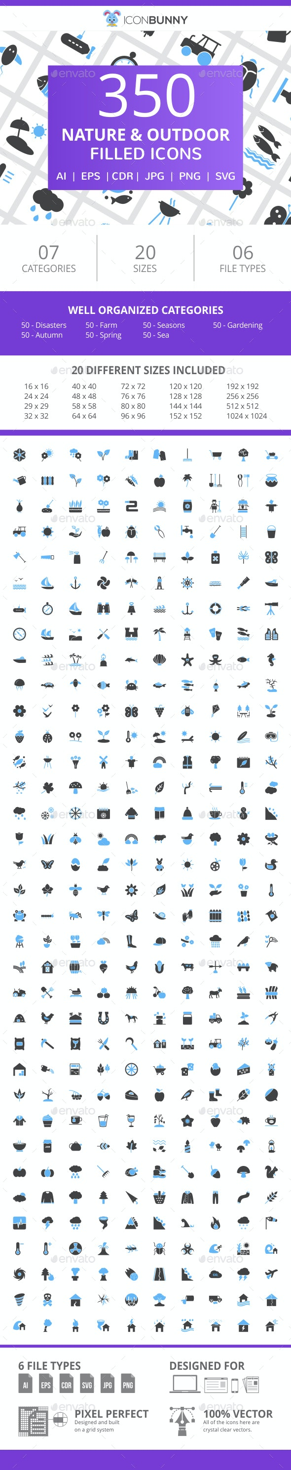 350 Nature & Outdoor Filled Blue & Black Icons - Icons