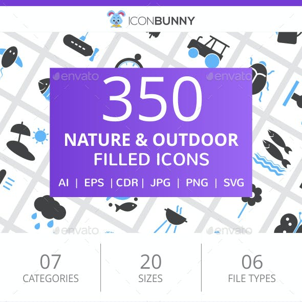 350 Nature & Outdoor Filled Blue & Black Icons