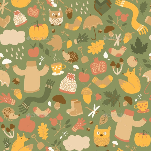 Autumn Green Seamless Pattern - Flowers & Plants Nature