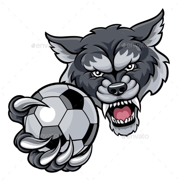 Wolf Holding Soccer Football Mascot - Sports/Activity Conceptual