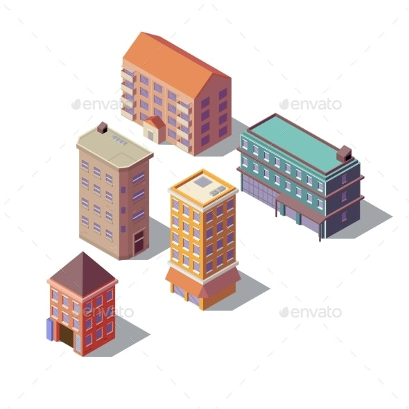 Vector Isometric Set of Residential Buildings - Buildings Objects