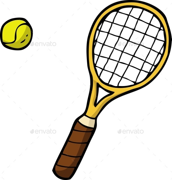 Doodle Tennis Racket and Ball - Man-made Objects Objects