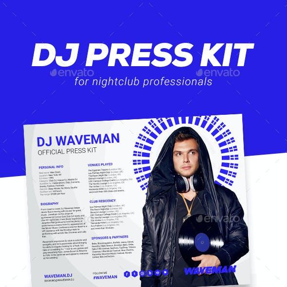 Wave - DJ Press Kit / DJ Resume / DJ Rider PSD Template