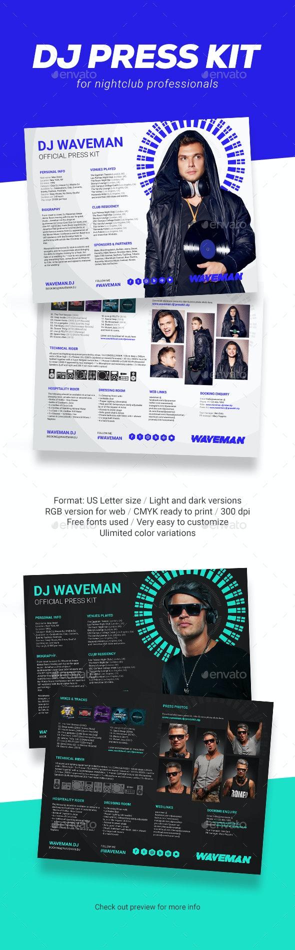 Wave - DJ Press Kit / DJ Resume / DJ Rider PSD Template - Resumes Stationery