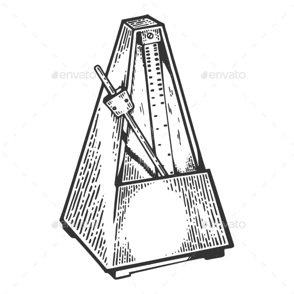 Metronome Tool Engraving Vector Illustration