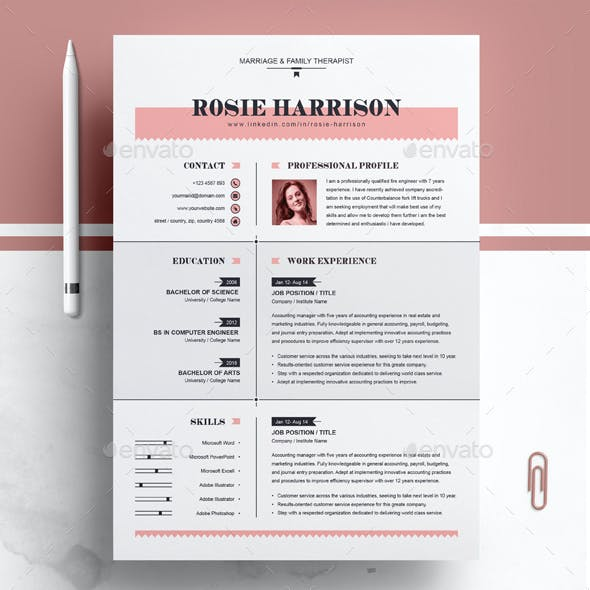 Modern Resume / MS Word Apple Pages CV Template