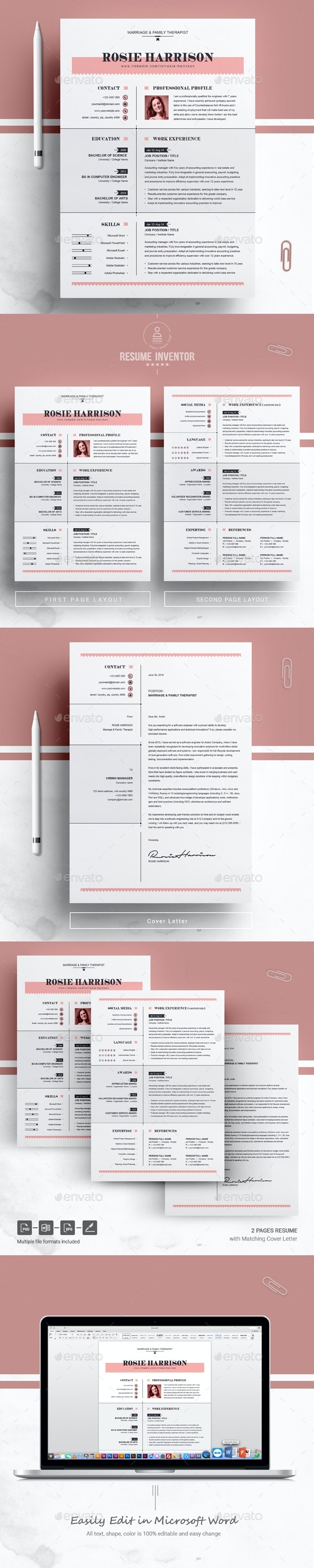 Modern Resume Ms Word Apple Pages Cv Template By