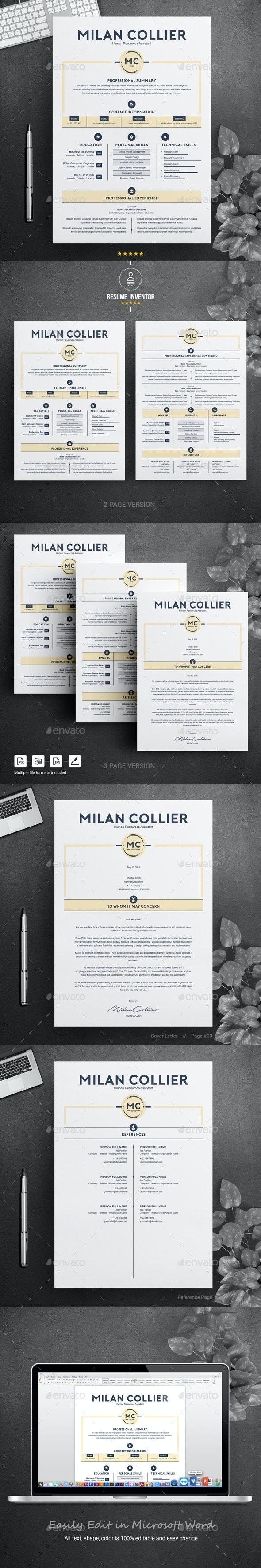 Creative Resume / CV Template - Resumes Stationery