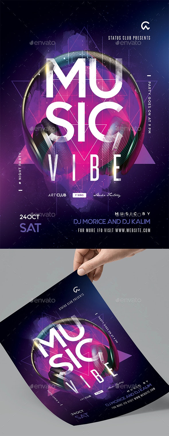 Music Vibe Party Flyer - Clubs & Parties Events