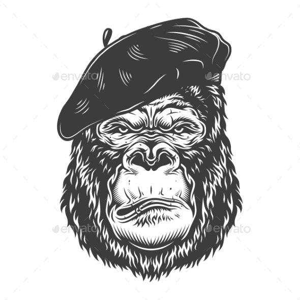 Serious Gorilla in Monochrome Style - Miscellaneous Vectors
