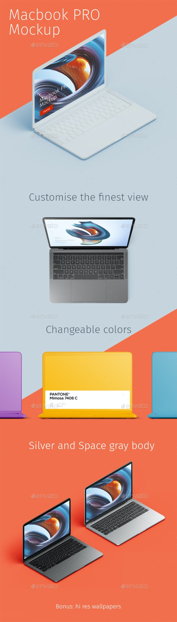 Macbook Pro Creative Mockup - Laptop Displays