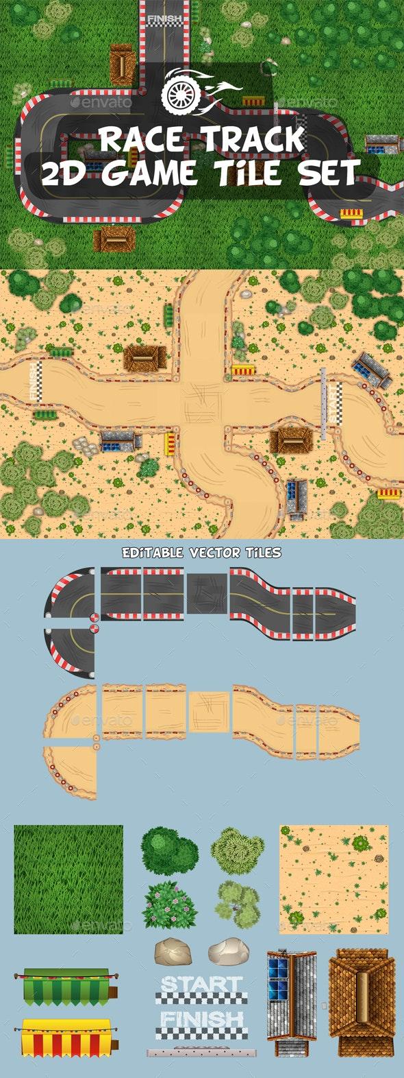 Race Track 2D Tile Set - Tilesets Game Assets