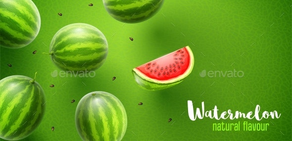 Watermelon Sweet Fruits Flavor Banner Design - Food Objects
