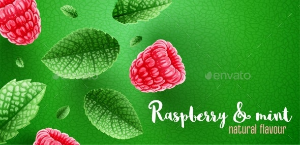 Fresh Green Mint Leaves and Raspberry on Banner Design - Food Objects
