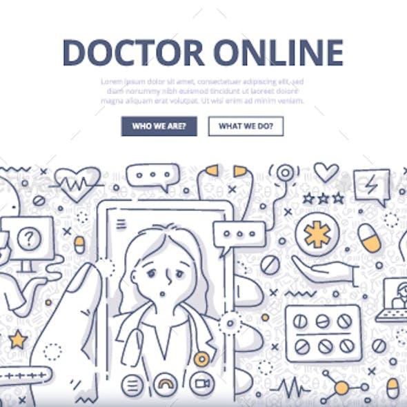Doctor Online Doodle Concept