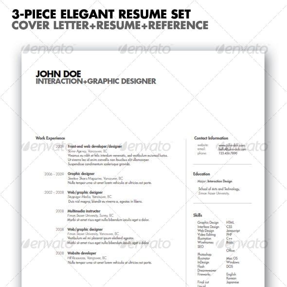 3 Piece Elegant Resume Set