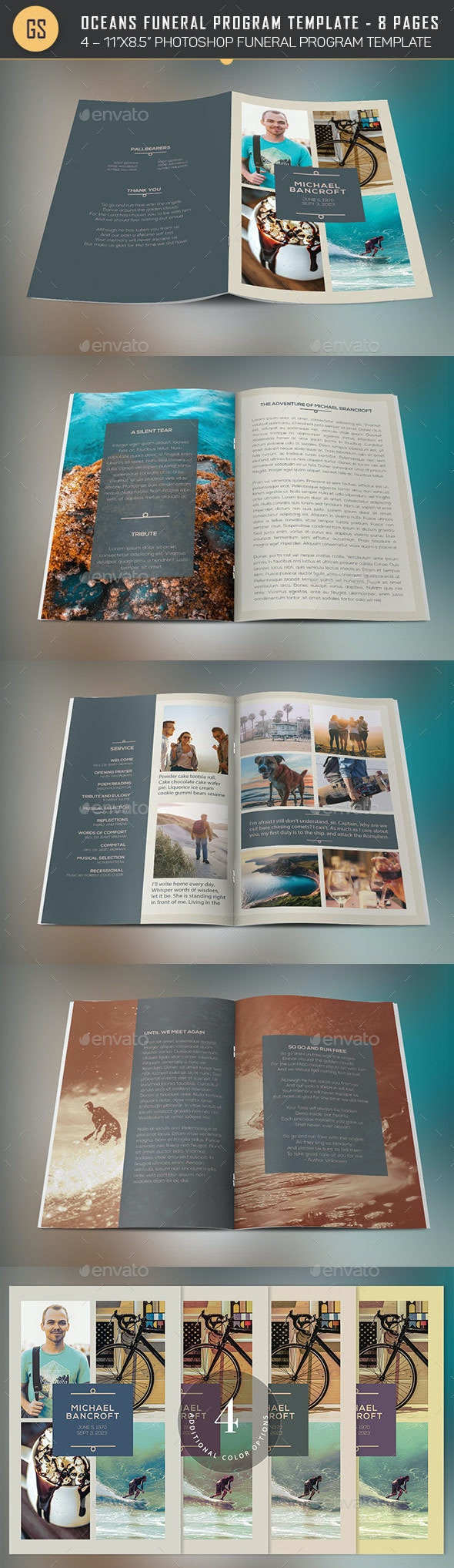 Oceans Funeral Program Template - 8 Pages - Brochures Print Templates