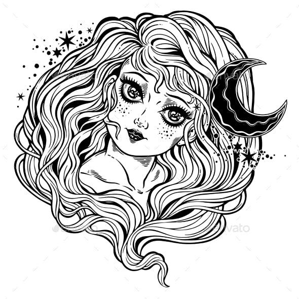 Magic Fairy of the Night Moon in Retro Style