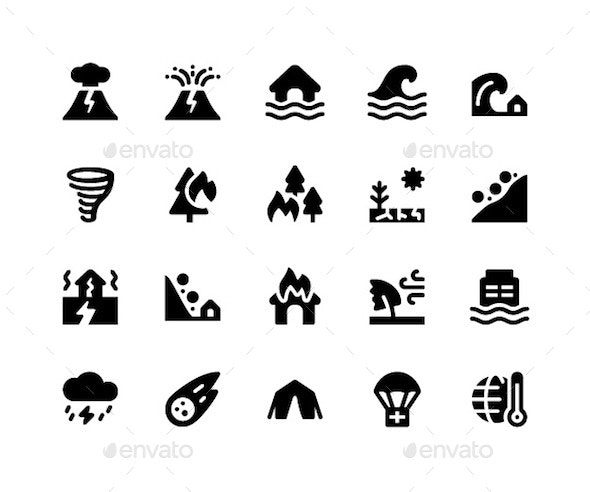 Disaster Glyph Icons - Icons