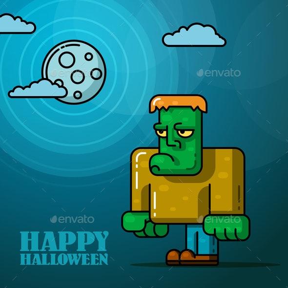 Halloween Full Moon with Frankenstein - Halloween Seasons/Holidays