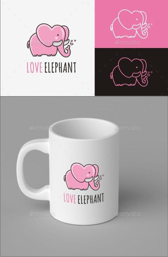 Love Elephant Logo Template - Animals Logo Templates