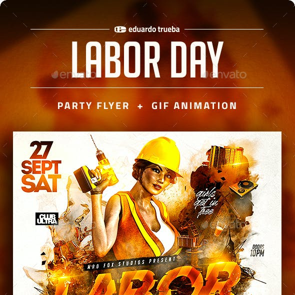 Labor Day Party Flyer + Gif Animation