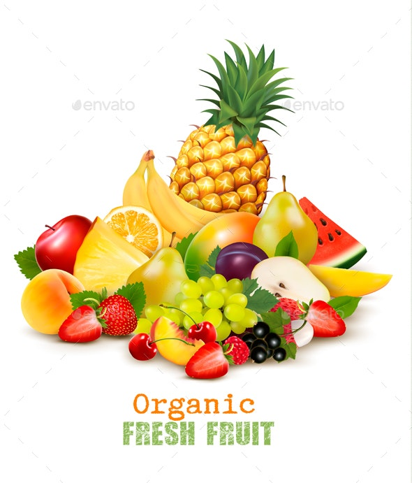 Collection of Different Organic Fresh Fruit Vector - Food Objects