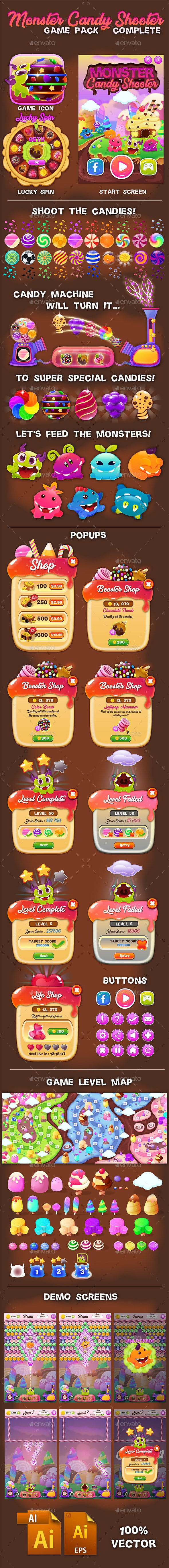 Monster Candy Shooter Game Pack Complete - Game Kits Game Assets