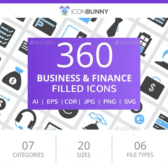 360 Business & Finance Filled Blue & Black Icons