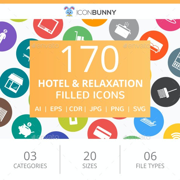 170 Hotel & Relaxation Filled Round Icons