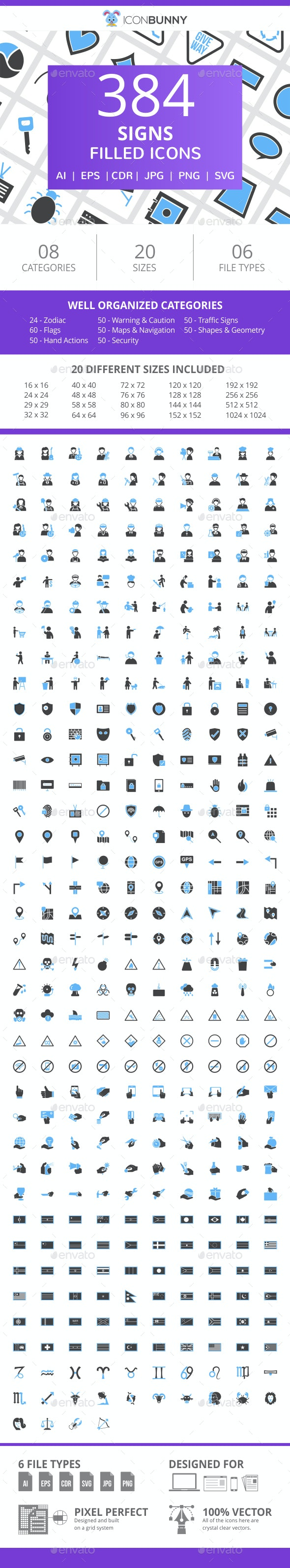384 Sign Filled Blue & Black Icons - Icons