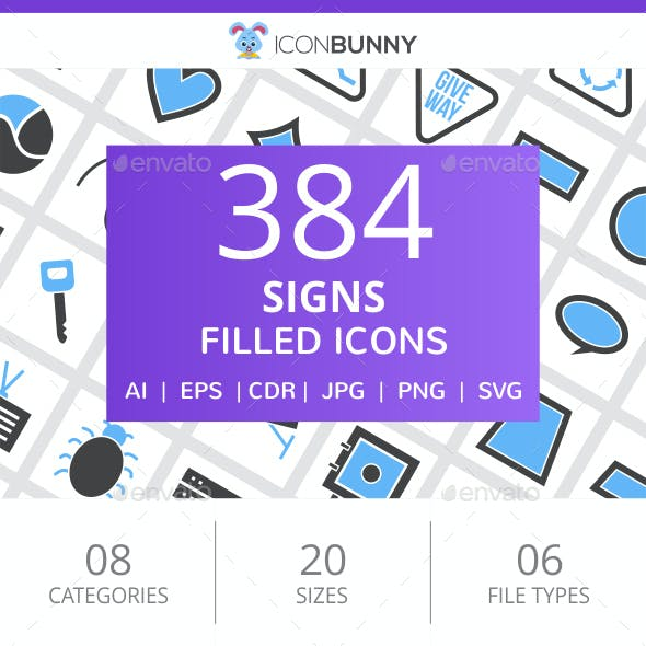 384 Sign Filled Blue & Black Icons