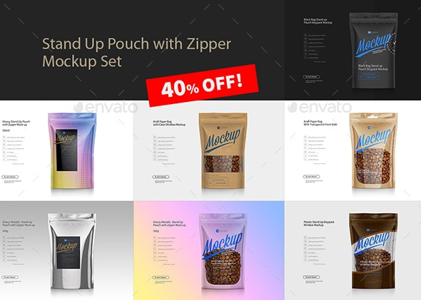 Stand Up Pouch with Zipper Mockup Set - Product Mock-Ups Graphics