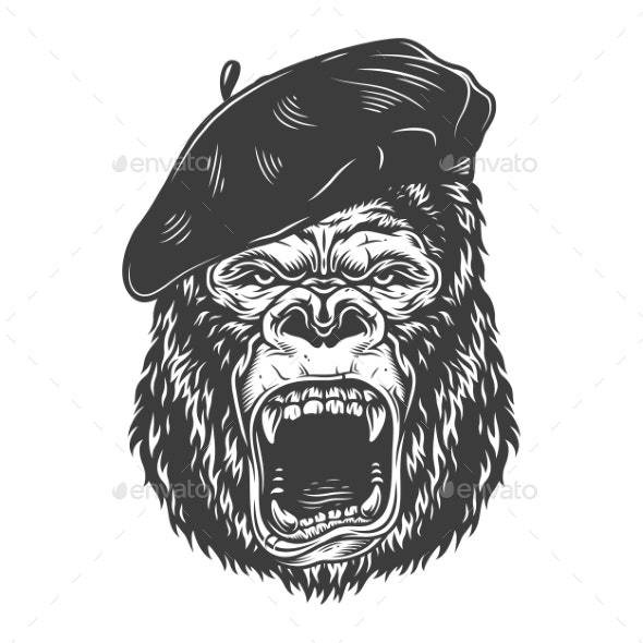 Angry Gorilla in Monochrome Style - Miscellaneous Vectors