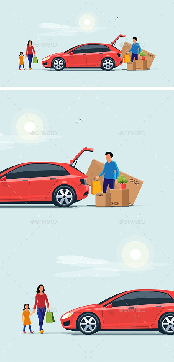 Family Shopping and Loading the Car Trunk with Purchase - Retail Commercial / Shopping