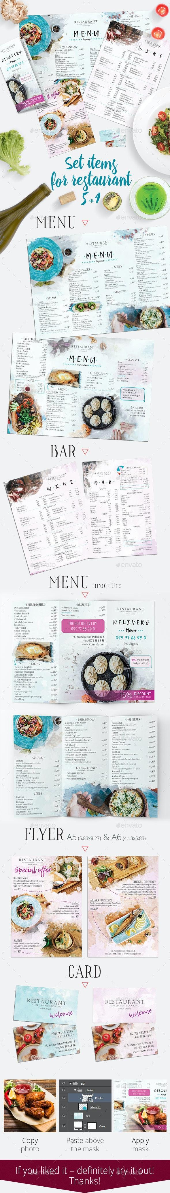 Set Items for Restaurant 5 in 1 - Food Menus Print Templates