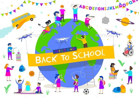Back to School Vector Illustration - People Characters