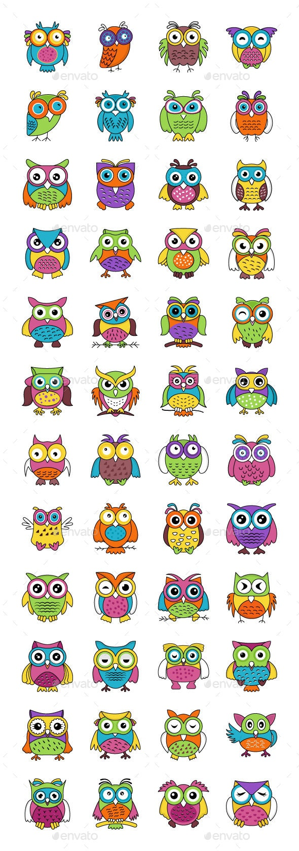 48 Baby Owl Cartoon Vector Icons - Icons